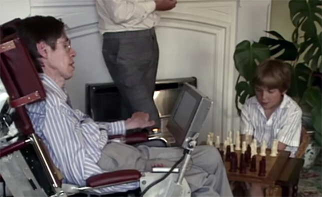 Timothy Hawking playing chess with dad
