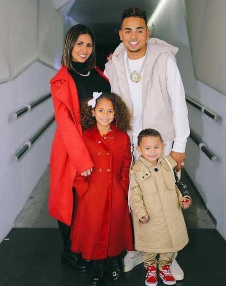 Rapper Ozuna with his wife Taina and kids- Sofia and Jacob