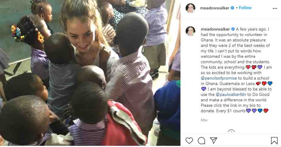 Paul's daughter Meadow volunteering at Ghana for pencilsofpromise